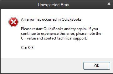 QuickBooks Error C = 343 Unexpected error